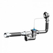 V250 Сифон для ванны регулируемый с выпуском и переливом с гт 40х50